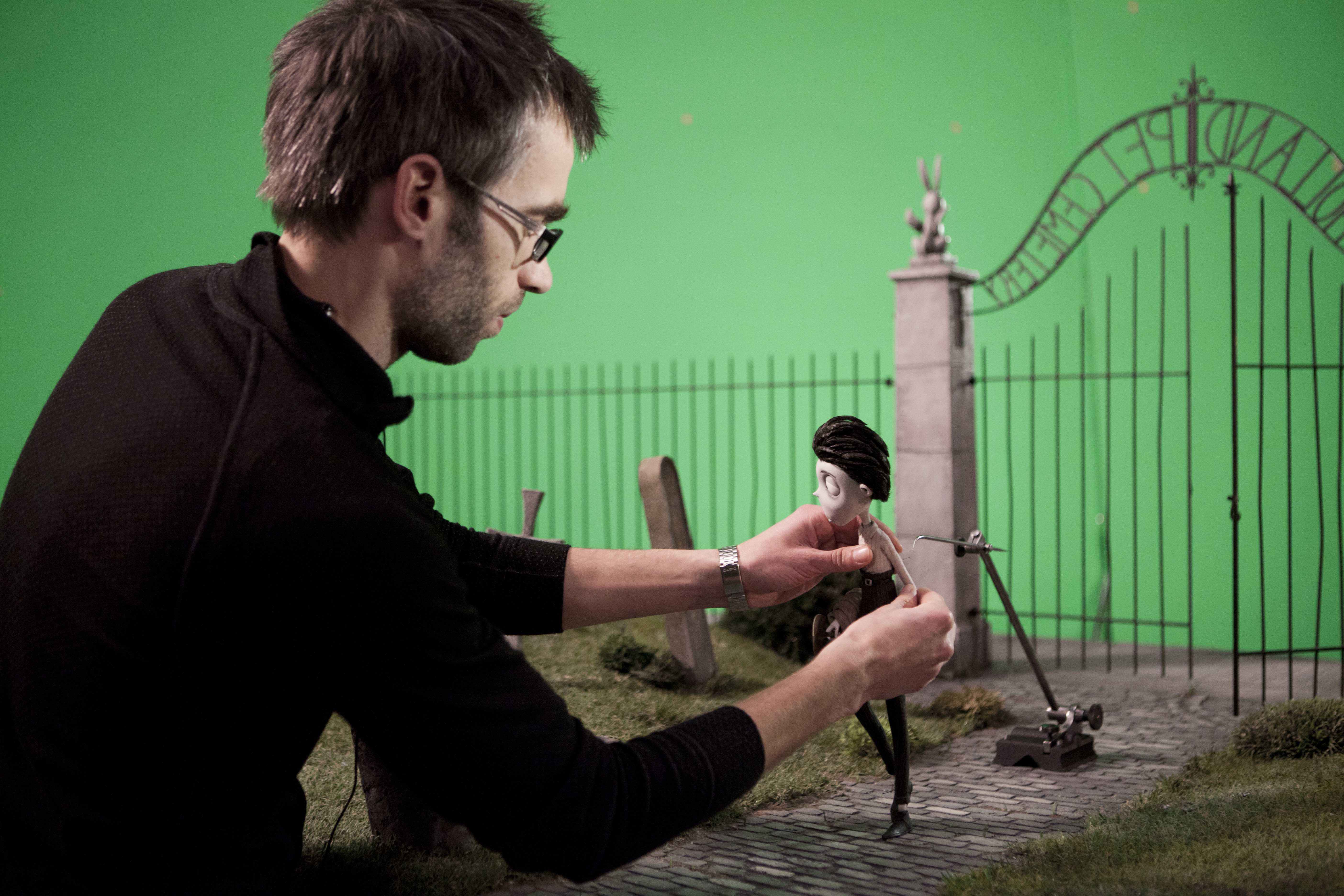 """""""FRANKENWEENIE""""   (Pictured) Animator, Jens Gulliksen, animating Victor on the Pet Cemetery set. Ph: Leah Gallo  ©2011 Disney Enterprises, Inc.  All Rights Reserved."""