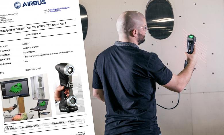 Photo of Lo scanner HandySCAN 3D Creaform è stato certificato da Airbus