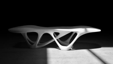 Photo of Slicelab mostra il Delicate Density Table in cemento stampato in 3D