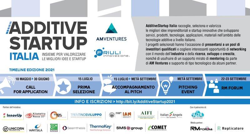 Sull'onda dei riscontri positivi dell'edizione 2020 si è aperta la seconda call di AdditiveStartup Italia. L'iniziativa di AM Ventures e Friuli Innovazione raccoglie, seleziona e valorizza le migliori idee imprenditoriali e startup innovative